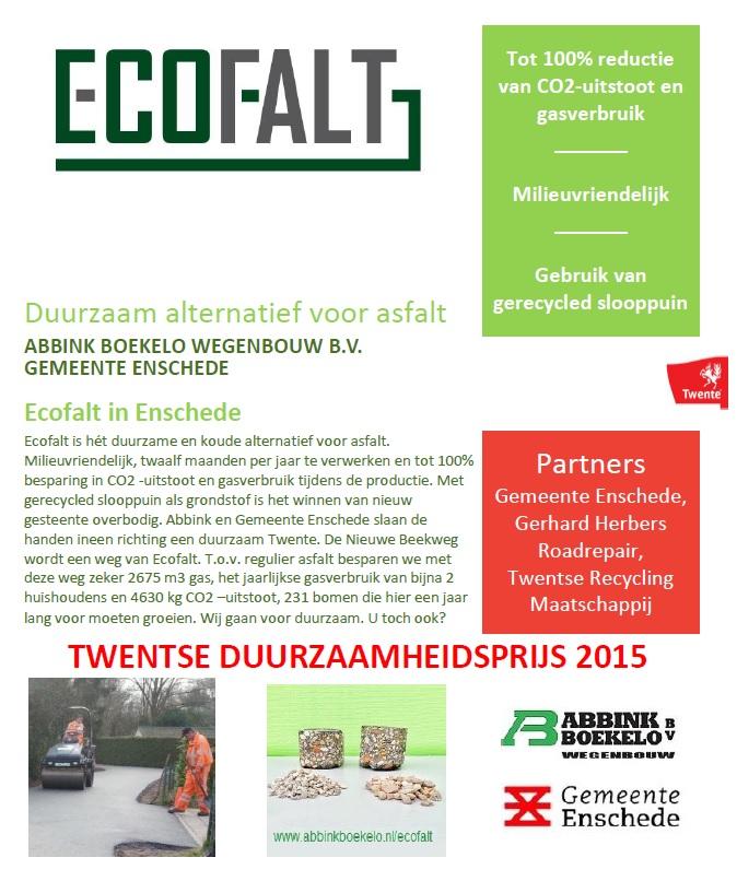 Twentse Duurzaamheidsprijs aanmelding Ecofalt